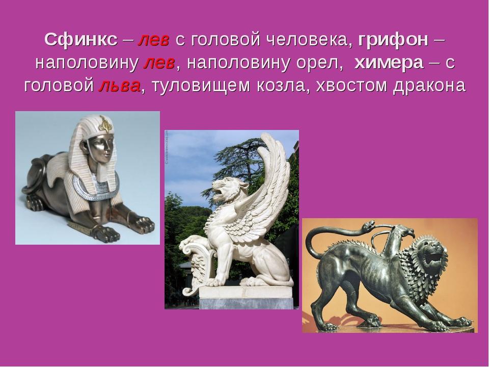 Сфинкс – лев с головой человека, грифон – наполовину лев, наполовину орел, хи...