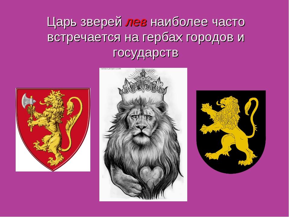 Царь зверей лев наиболее часто встречается на гербах городов и государств