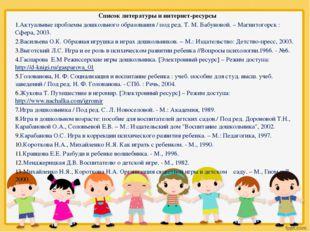 Список литературы и интернет-ресурсы Актуальные проблемы дошкольного образова