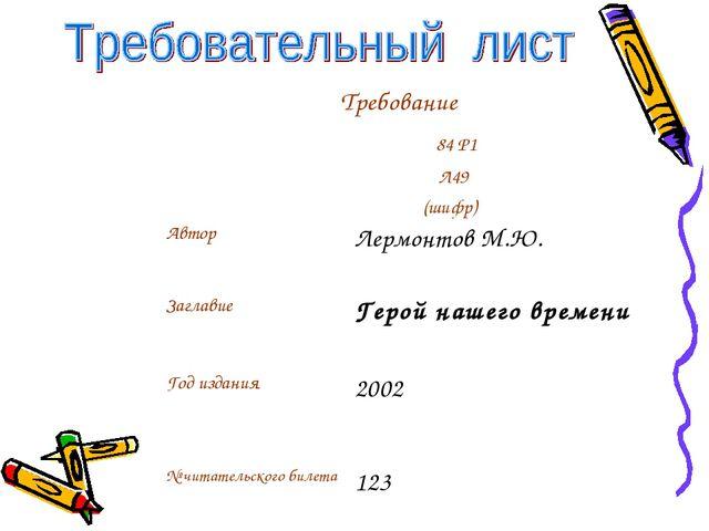 Требование 84 Р1 Л49 (шифр) АвторЛермонтов М.Ю. ЗаглавиеГерой нашего врем...