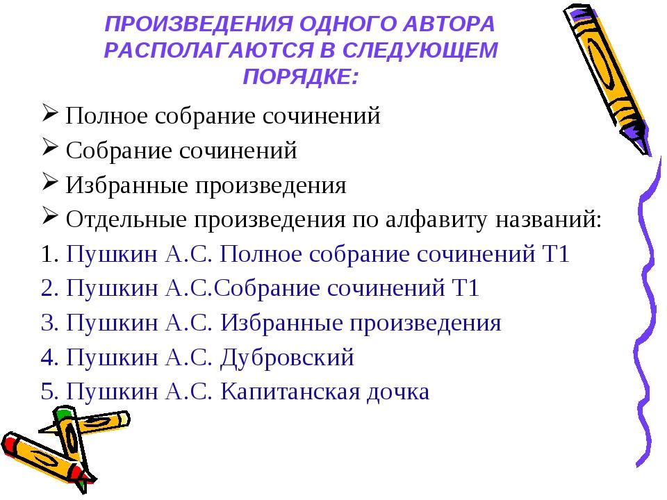 ПРОИЗВЕДЕНИЯ ОДНОГО АВТОРА РАСПОЛАГАЮТСЯ В СЛЕДУЮЩЕМ ПОРЯДКЕ: Полное собрани...