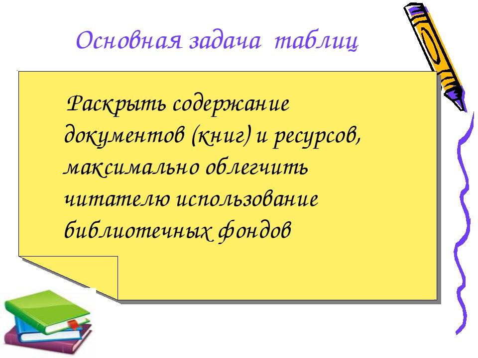 Основная задача таблиц Раскрыть содержание документов (книг) и ресурсов, макс...