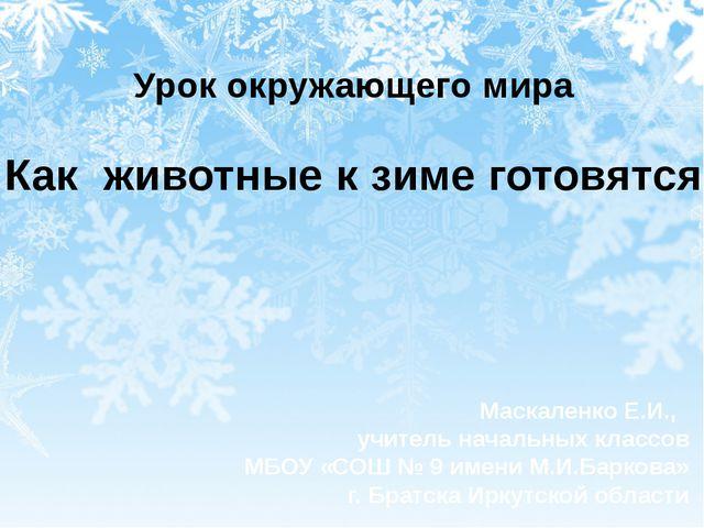 Урок окружающего мира Как животные к зиме готовятся Маскаленко Е.И., учитель...