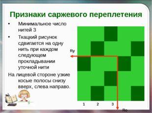 Признаки саржевого переплетения Минимальное число нитей 3 Ткацкий рисунок сдв
