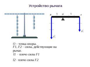 Устройство рычага F1, F2 – силы, действующие на рычаг. О – точка опоры. l1 -