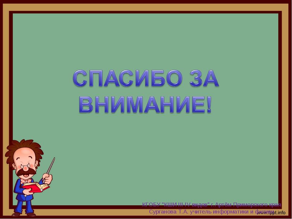 """КГОБУ """"КШИ III-IV видов"""" г.Артём Приморского края Сурганова Т.А. учитель инфо..."""