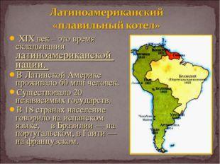 XIX век – это время складывания латиноамериканской нации. В Латинской Америк