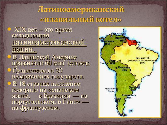 XIX век – это время складывания латиноамериканской нации. В Латинской Америк...