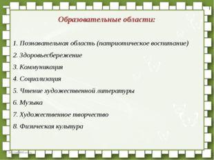 Образовательные области: Познавательная область (патриотическое воспитание)