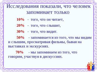 Исследования показали, что человек запоминает только 10% - того, что он чит