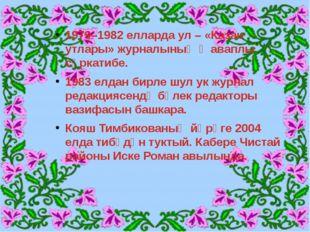 1979–1982 елларда ул – «Казан утлары» журналының җаваплы сәркатибе. 1983 елда