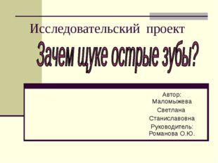 Исследовательский проект Автор: Маломыжева Светлана Станиславовна Руководител