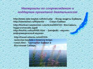 Материалы по сопровождению и поддержке проектной деятельности http://www.lake