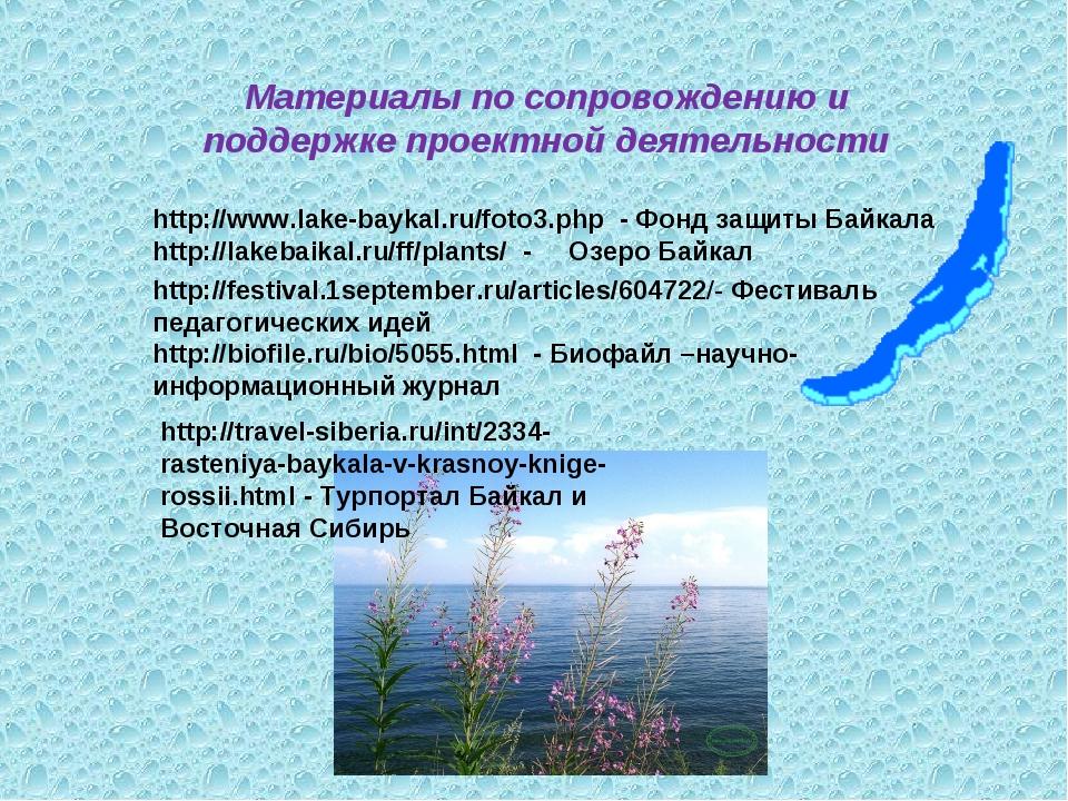 Материалы по сопровождению и поддержке проектной деятельности http://www.lake...