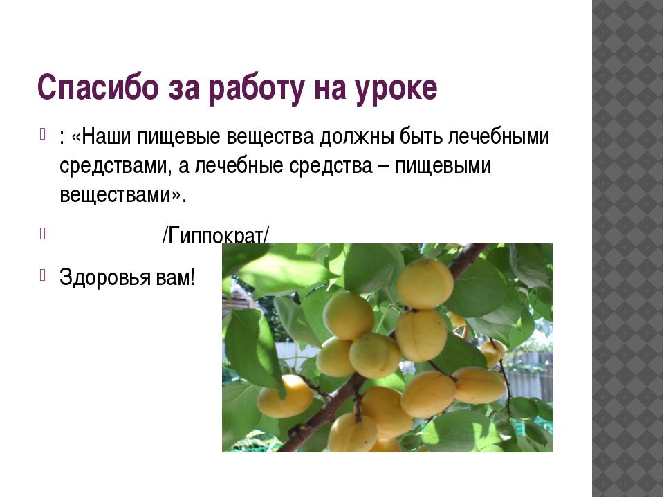 Спасибо за работу на уроке : «Наши пищевые вещества должны быть лечебными сре...
