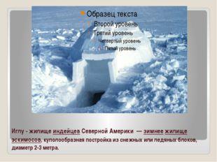 Иглу - жилище индейцев Северной Америки— зимнее жилище эскимосов, куполообр