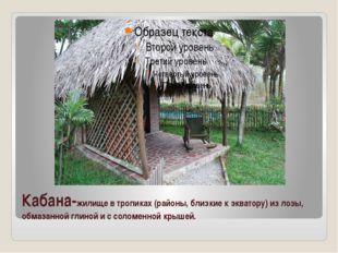 Кабана-жилище в тропиках (районы, близкие к экватору) из лозы, обмазанной гли