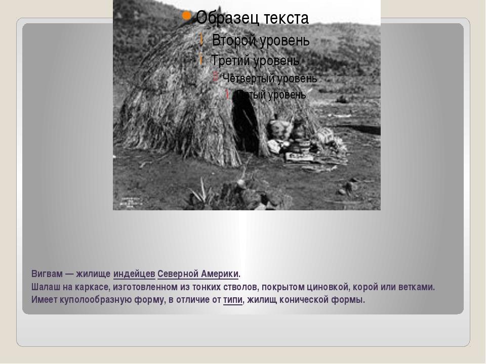 Вигвам— жилище индейцев Северной Америки. Шалаш на каркасе, изготовленном из...