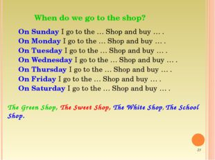 When do we go to the shop? On Sunday I go to the … Shop and buy … . On Monda