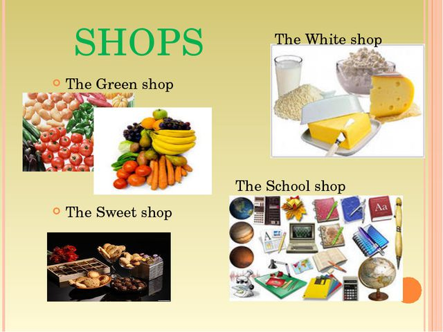 SHOPS The Green shop The Sweet shop The White shop The School shop