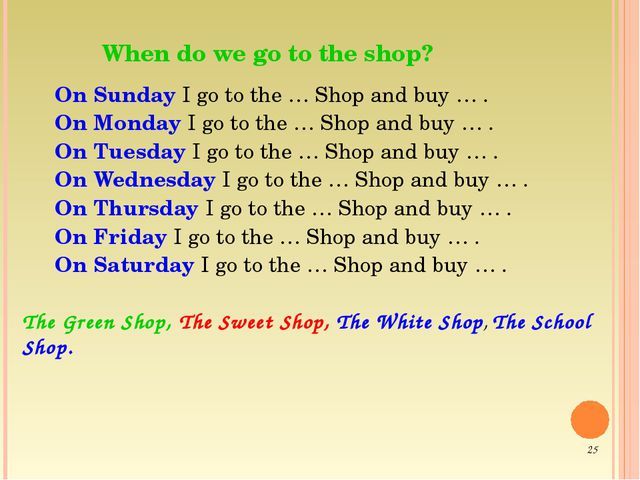 When do we go to the shop? On Sunday I go to the … Shop and buy … . On Monda...