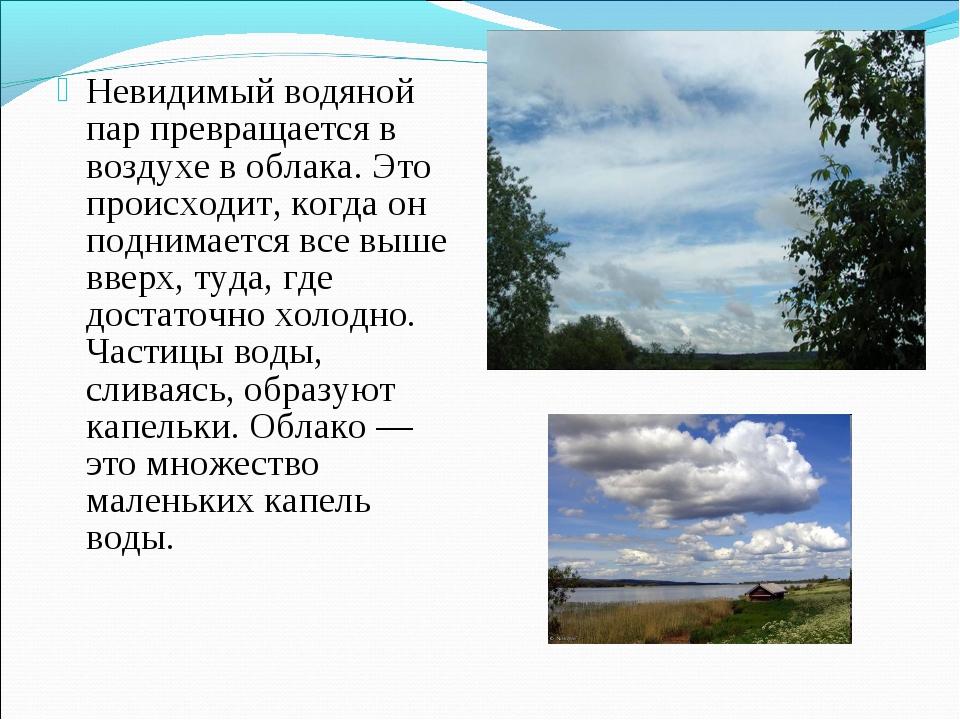 Невидимый водяной пар превращается в воздухе в облака. Это происходит, когда...