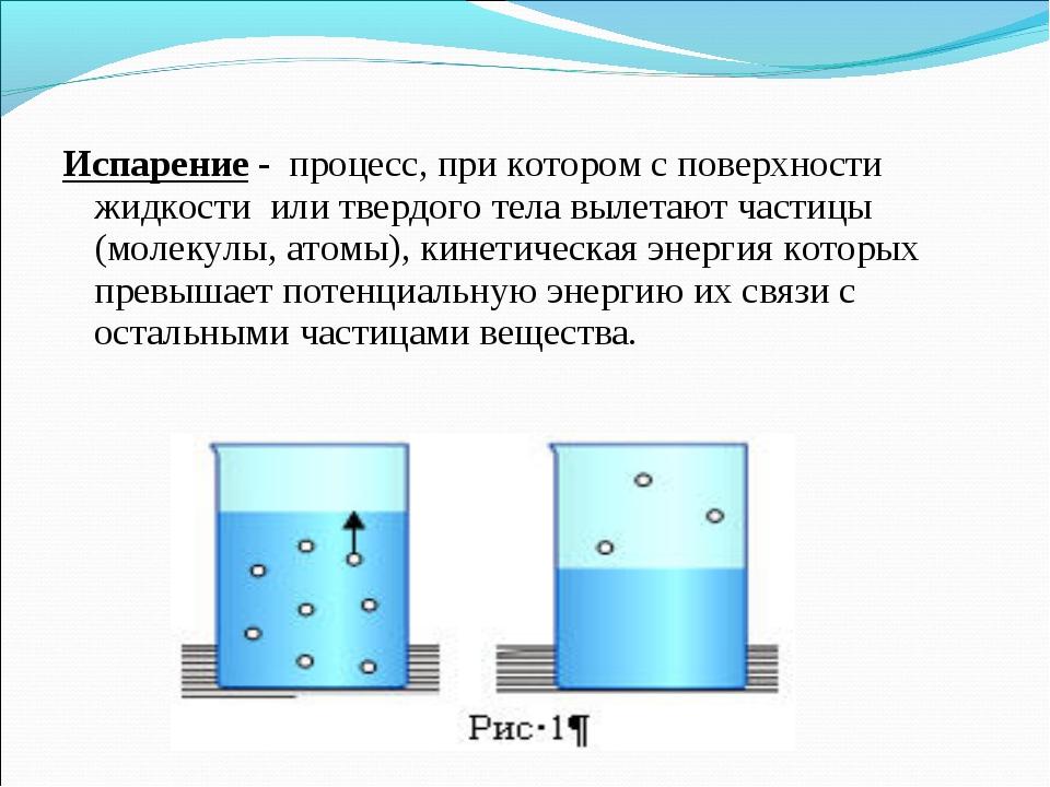 Испарение - процесс, при котором с поверхности жидкости или твердого тела выл...