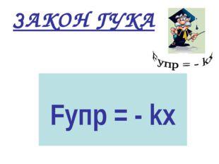 ЗАКОН ГУКА Fупр = - kх