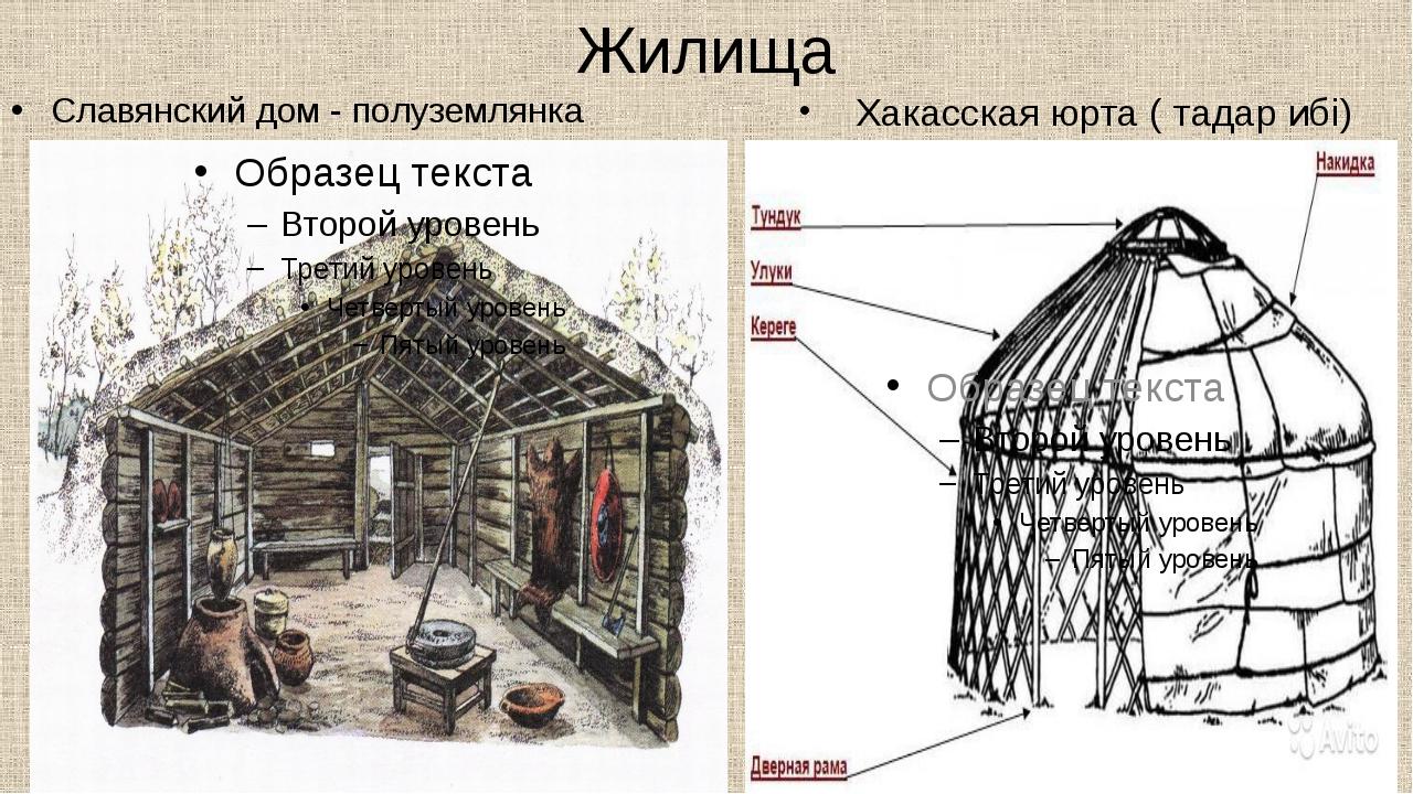 Жилища Славянский дом - полуземлянка Хакасская юрта ( тадар ибi)