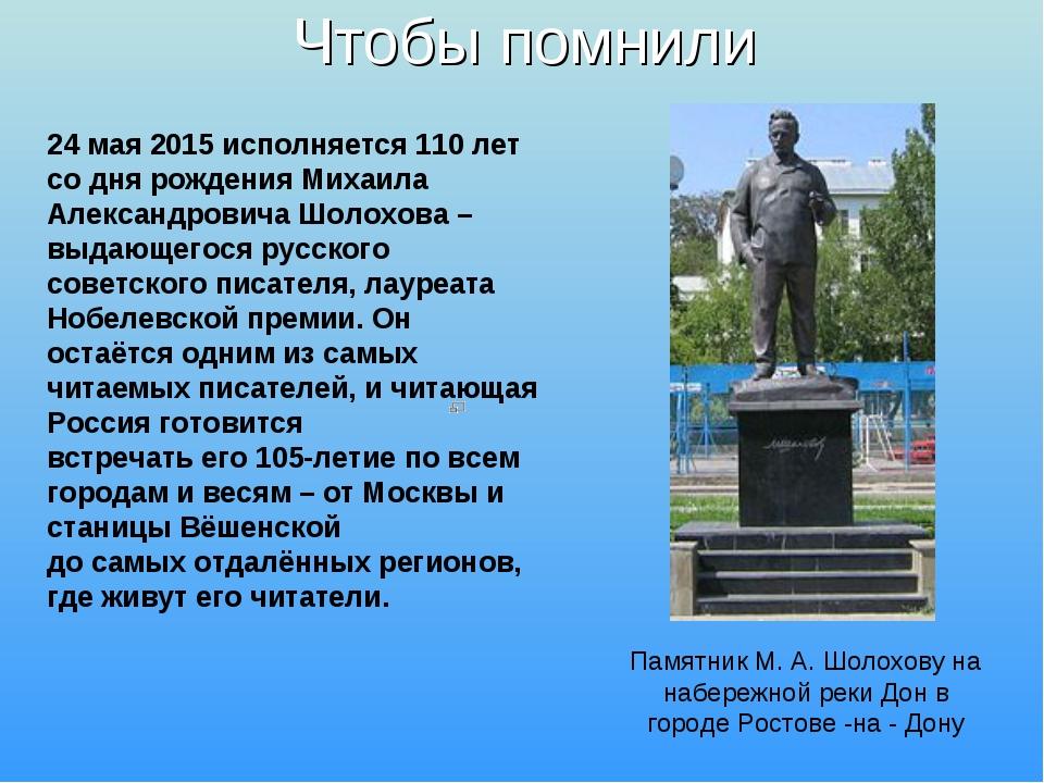 Чтобы помнили 24 мая 2015 исполняется 110 лет со дня рождения Михаила Алексан...