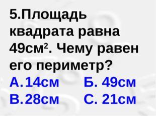 5.Площадь квадрата равна 49см2. Чему равен его периметр? A.14см Б. 49см B.