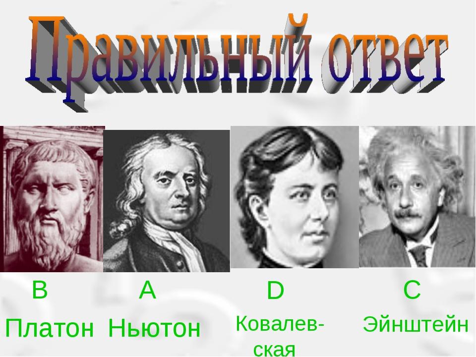 B Платон A Ньютон D Ковалев-ская C Эйнштейн