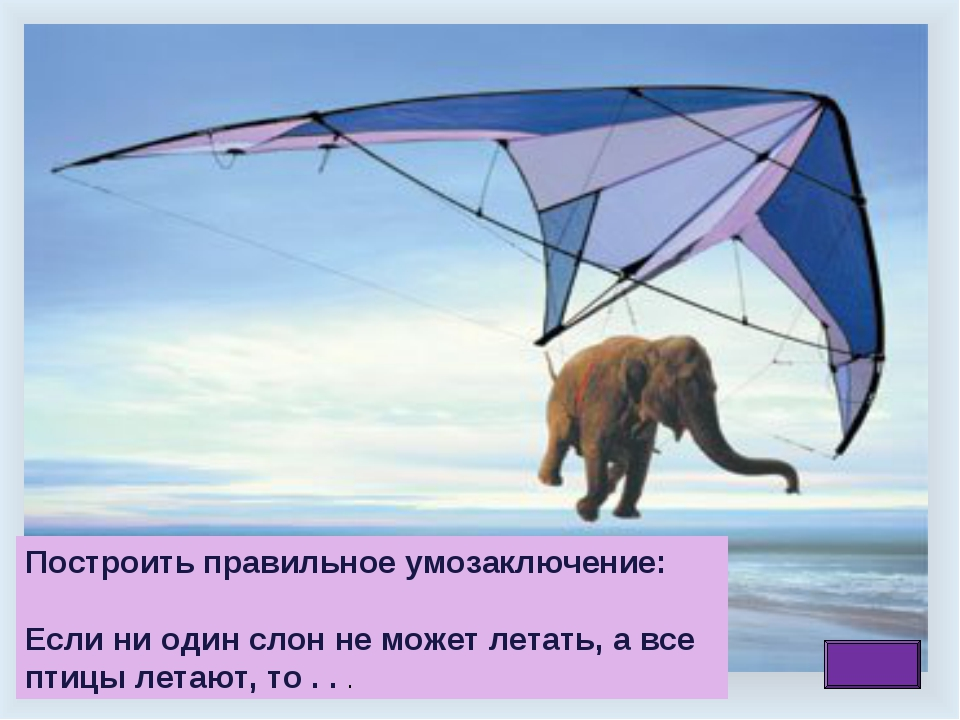 Построить правильное умозаключение: Если ни один слон не может летать, а все...