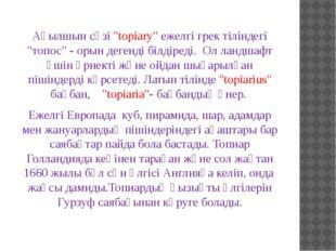 """Ағылшын сөзі """"topiary"""" ежелгі грек тіліндегі """"топос"""" - орын дегенді білдіреді"""