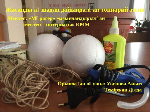 Орындаған оқушы: Укенова Айым Теміржан Ділда Жасанды ақшадан дайындалған топи...