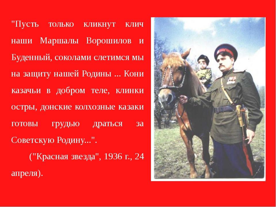 """""""Пусть только кликнут клич наши Маршалы Ворошилов и Буденный, соколами слетим..."""