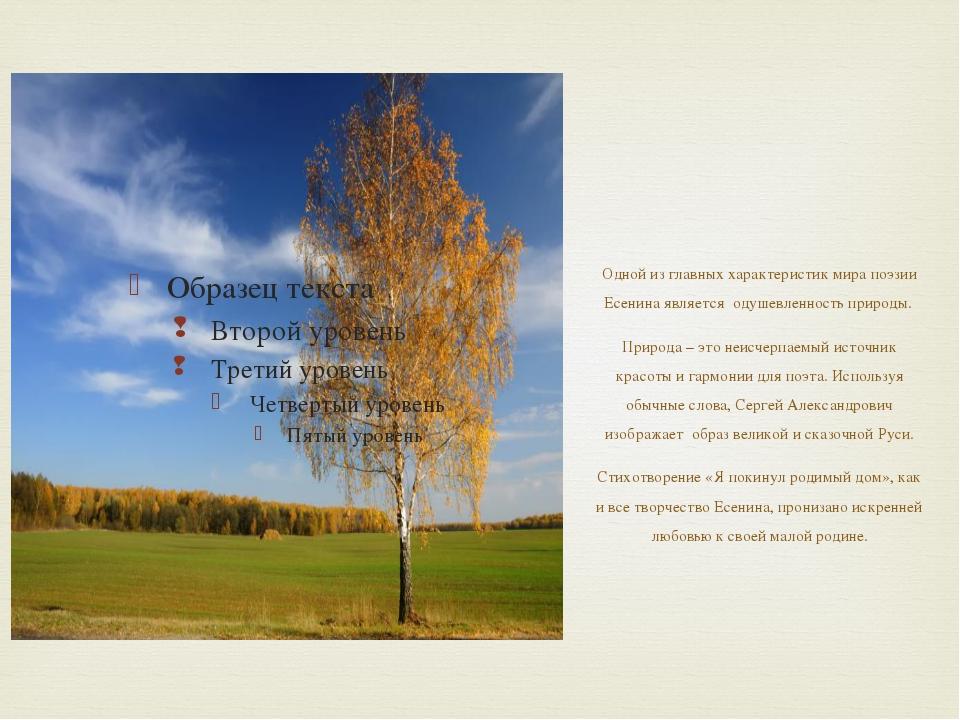 Одной из главных характеристик мира поэзии Есенина является одушевленность п...