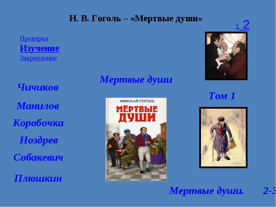 Проверка Изучение Закрепление 1 2 3 Н. В. Гоголь – «Мертвые души» Мертвые душ...