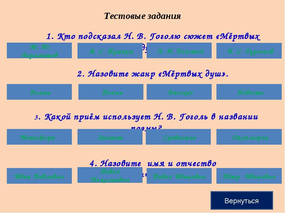 Тестовые задания 1. Кто подсказал Н. В. Гоголю сюжет «Мёртвых душ»? М. Ю. Лер...