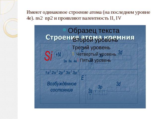 Имеют одинаковое строение атома (на последнем уровне 4е). ns2 np2 и проявляют...