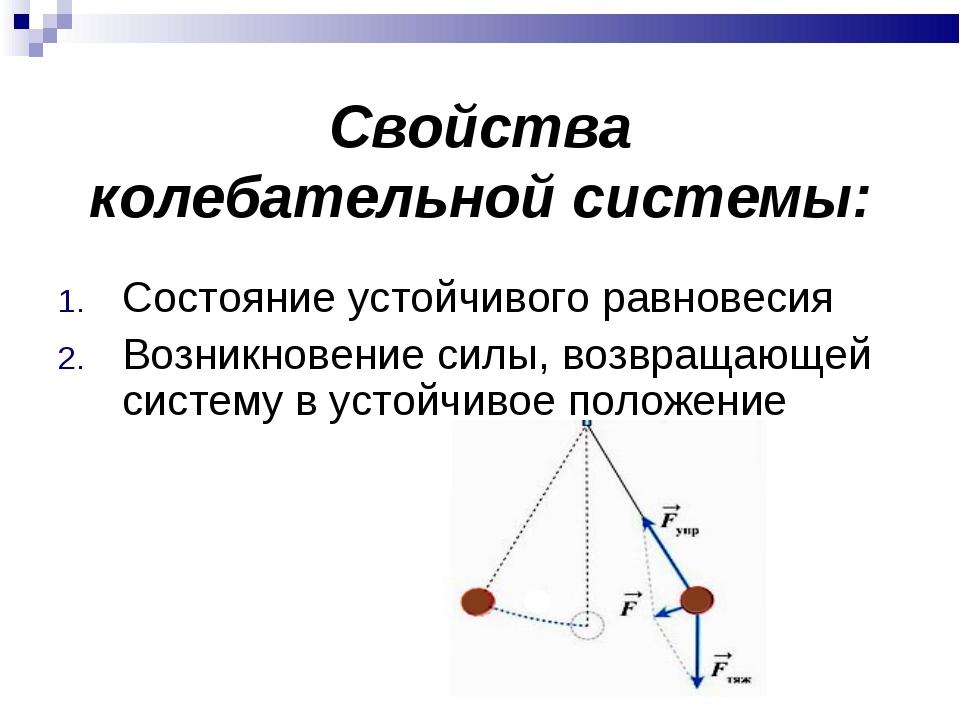 Свойства колебательной системы: Состояние устойчивого равновесия Возникновен...