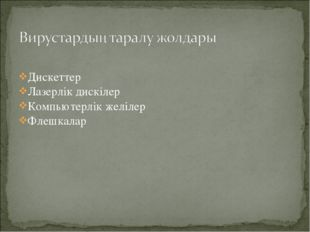 Дискеттер Лазерлік дискілер Компьютерлік желілер Флешкалар