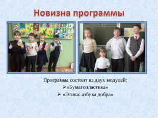 Программа состоит из двух модулей: «Бумагопластика» «Этика: азбука добра»