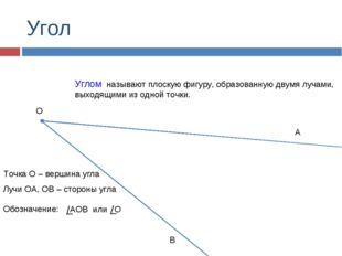 Угол Углом называют плоскую фигуру, образованную двумя лучами, выходящими из