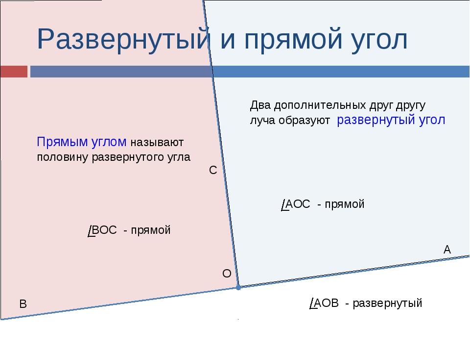 Развернутый и прямой угол Два дополнительных друг другу луча образуют разверн...