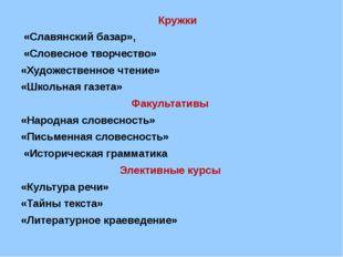 Кружки     Кружки  «Славянский базар»,  «Словесное творчество» «Художеств