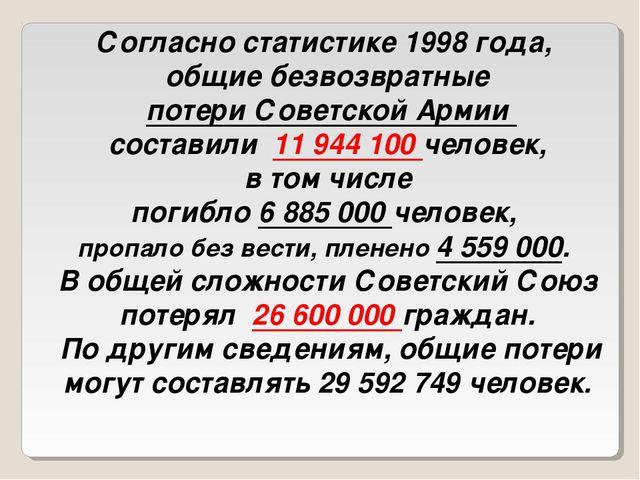 Согласно статистике 1998 года, общие безвозвратные потери Советской Армии сос...