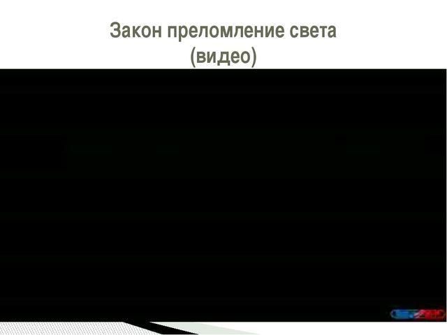 Закон преломление света (видео)