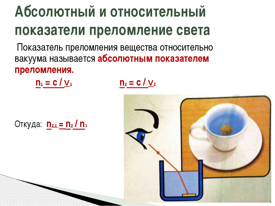 Показатель преломления вещества относительно вакуума называется абсолютным п...