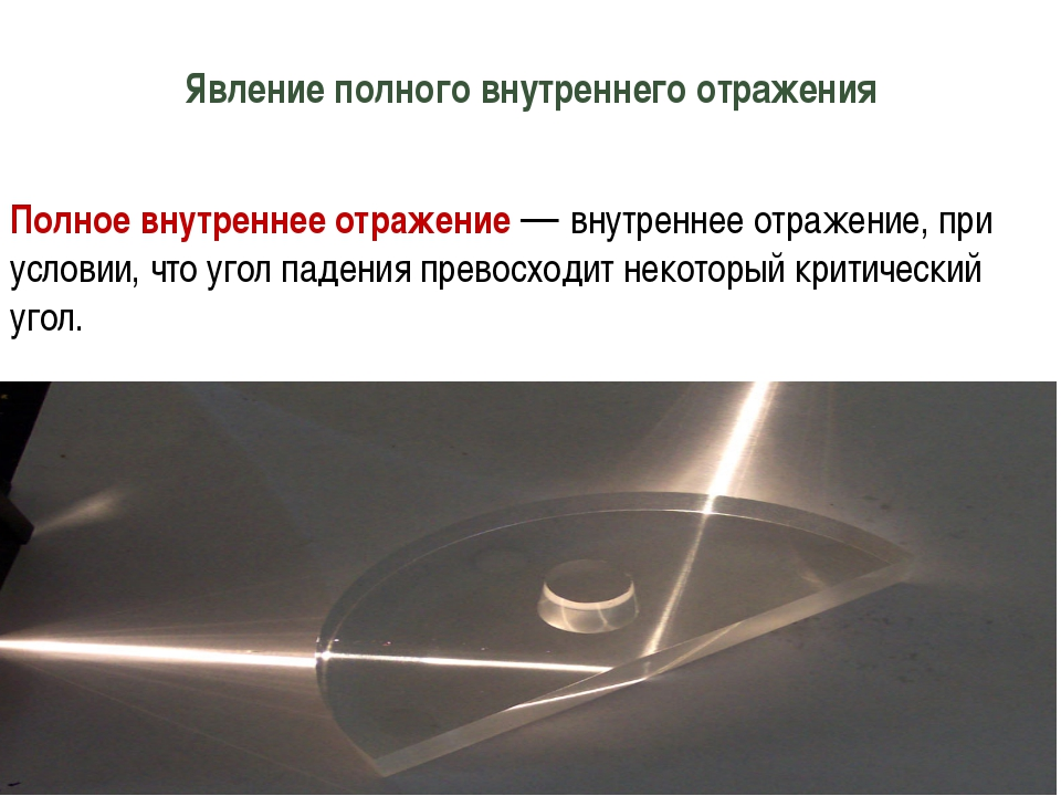 Явление полного внутреннего отражения Полное внутреннее отражение— внутренне...